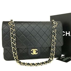 CHANEL Classic Double Flap Leather Gold Chain Bag